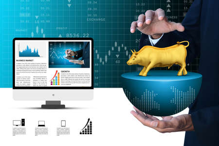 speculative: Man hand showing the stock market bull