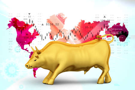 Rising golden business bull Stock Photo