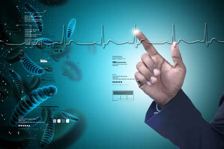 Homme montrant ADN et bactéries Banque d'images - 80018291
