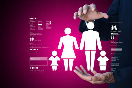 matrimonial: Family icon in the hands of man