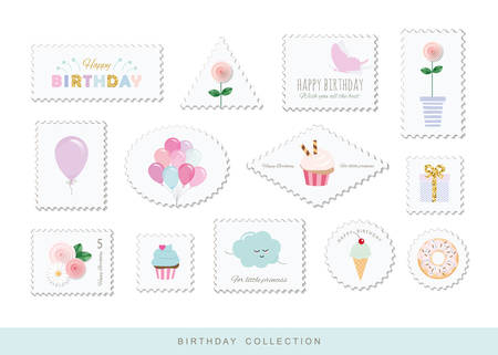 Cute postage stamps for birthday or scrapbook design. Decorative stickers for girls. Vetores