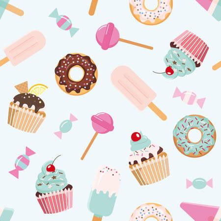 Nahtloses Muster zum Geburtstag mit Süßigkeiten. Mädchenhaft. Für Print und Web. Vektor