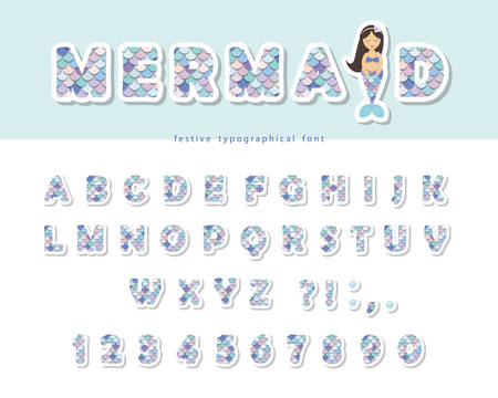 Mermaid tail scale font. For birthday cards, posters. Vector illustration