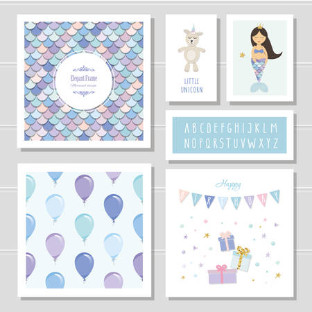 Birthday card templates set. Mermaid and little unicorn cartoon characters. Narrow font and seamless pattern included. Vector