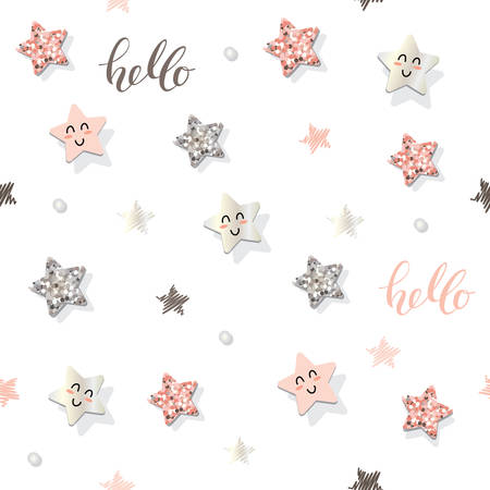 Decorative seamless pattern background with stars and glitter confetti. For party celebration design. Illustration