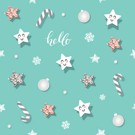 Christmas and new year seamless pattern background with glitter stars and decorative elements. Vector