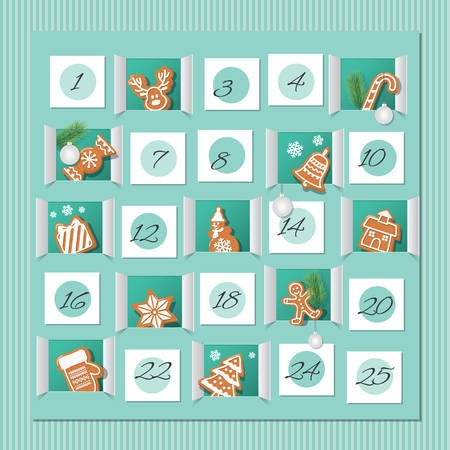 Advent calendar, decorated wirh gingerbread cookies. Countdown to Christmas. Vector Illustration