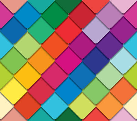Colorful mosaic seamless pattern. Paper cut out pieces background. Vector