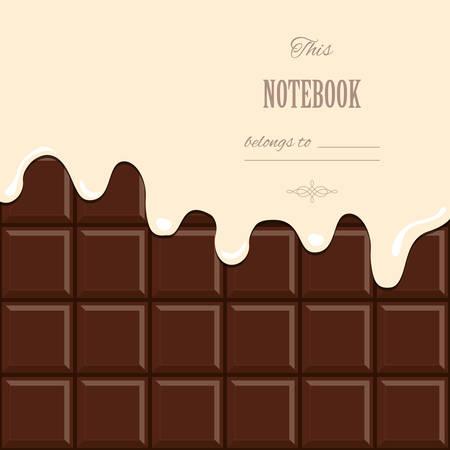 Vanillecrème gesmolten op chocoladereep achtergrond.