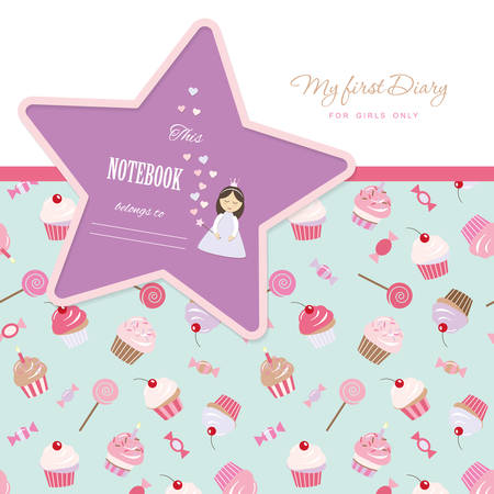 Cute template for notebook cover for girls. My first Diary. Included seamless pattern with cupcakes and sweets. Vector EPS10. Ilustracje wektorowe