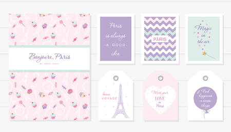 Love in Paris design. Notebook, cards and tags cute templates set. Honey moon, Valentine s, french bakery design. Included seamless pattern with Eiffel tower and sweets - cupcakes, candies. Vector.
