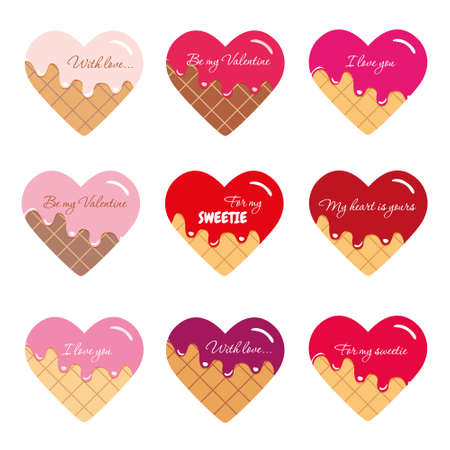 Valentine s day stickers. Cartoon hearts with sample text. Vector EPS10.