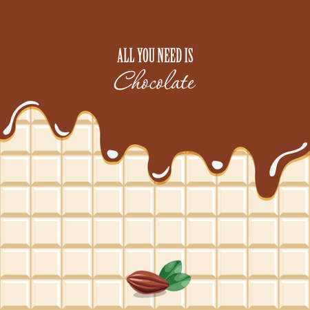 Melted chocolate background with sample text. Cocoa bean. Vector EPS10. Imagens
