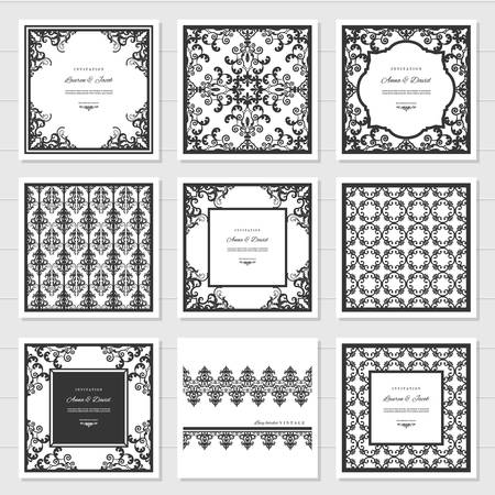 Filigree frames and decorative panels set. Laser cutting design. Wedding invitation. Damask. Vintage. Vector