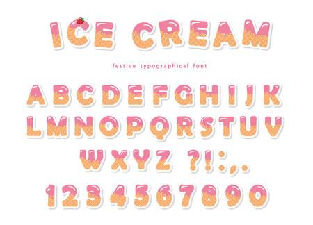 Fuente de helado. Las letras y números lindos de la oblea se pueden usar para tarjetas de cumpleaños, baby shower, día de San Valentín, tienda de dulces, revistas para niñas, collages. Aislado. Ilustración de vector