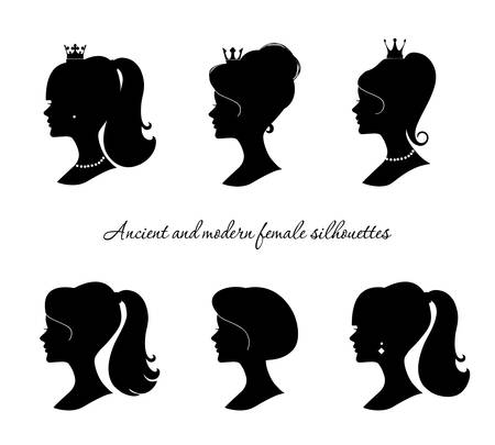 Beautiful female silhouettes set. Modern and ancient young woman profiles. Isolated on white. Vector. Illustration