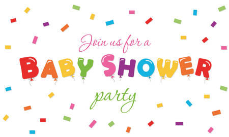 Baby shower festive background. Party invitation banner with balloon colored letters and confetti. Vector EPS10.