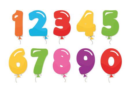 Ballon-Cooler-Zahlen eingestellt. Für Geburtstag, Jubiläum und Party festliches Design.