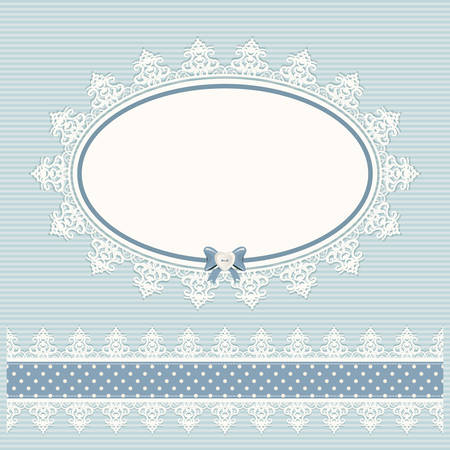 Oval doily frame with lacy border. Country style. For baby shower, menu, scrapbook design. Vector. Ilustração