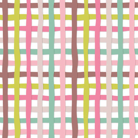 Hand drawn plaid seamless pattern background. Colorful plasticine stripes texture. For print and web. 免版税图像