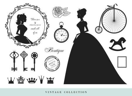 Vintage silhouettes set. Princesses, old keys, crowns stamps rose byke
