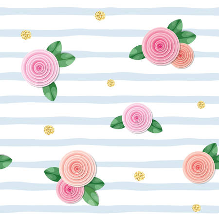 Seamless pattern with roses and glitter polka dots on striped background. vector