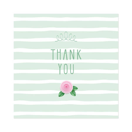 Thank you card. Rose on stripped background template. Vector