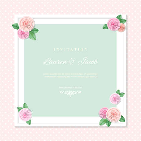 White square frame decorated with roses on polka dots background. Shabby shic design. Girly. Vector 版權商用圖片