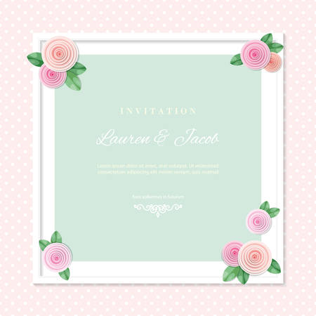 White square frame decorated with roses on polka dots background. Shabby shic design. Girly. Vector Ilustração