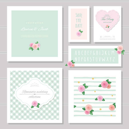Wedding card templates set. Decorated with roses. Invitation, save the date. Pastel pink and green. Romantic collection, included frames, patterns, narrow hand written alphabet. vector  イラスト・ベクター素材