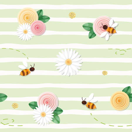 Summer floral seamless pattern. Roses, chamomiles, flying bees on stripped green background. vector