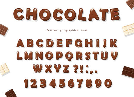 Chocolate font design. Sweet glossy ABC letters and numbers. Vector Vectores