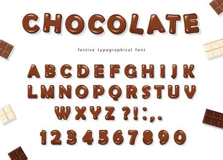 Progettazione di font al cioccolato. Lettere e numeri ABC lucidi dolci. Vettore Vettoriali