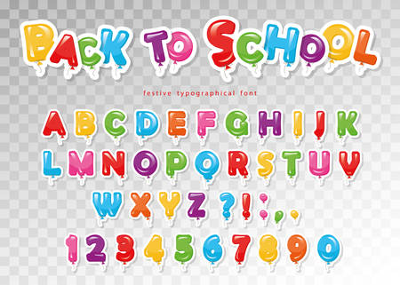 Back to school. Balloon colorful font for kids. Funny ABC letters and numbers. For birthday party, baby shower. Vector.