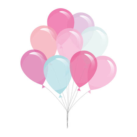 Colorful transparent balloons isolated on white. Vector Çizim