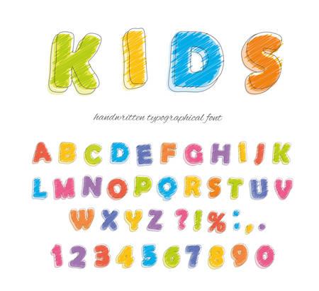 Font pencil crayon. For kids. Handwritten, scribble Vector illustration Иллюстрация