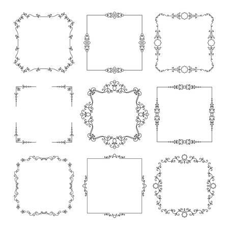 Vintage calligraphic square frame set isolated on white. Vector Illustration