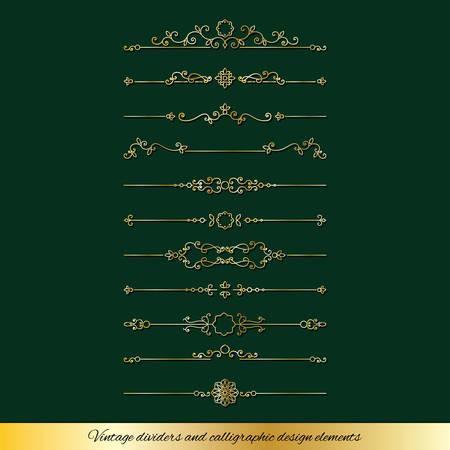 Diviseurs dorés vintage et ensemble de décoration de page. Conception de luxe.