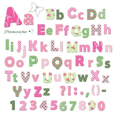 Carattere tessile carino. Modelli inclusi sotto la maschera di ritaglio. Lettere e numeri.