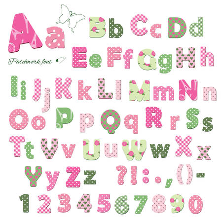 Cute textile font. Patterns included under clipping mask. Letters and numbers. Иллюстрация