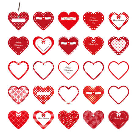 Valentines day stickers. Decorative cut out red hearts set isolated on white. 矢量图片