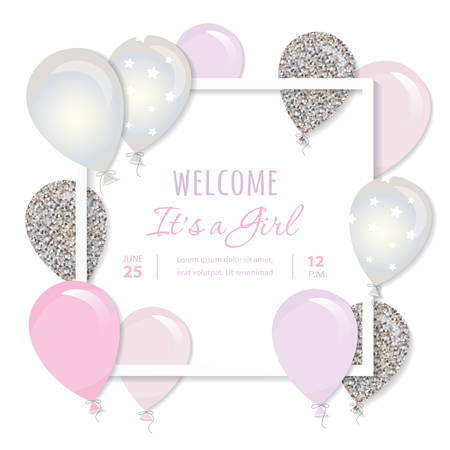 Balloons in paper cut out square frame. Birthday and girl baby shower design. Pink and silver glitter. vector Illustration