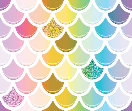 Mermaid tail seamless pattern with gold glitter elements. Trendy scale background. Multicolored. Vector 向量圖像