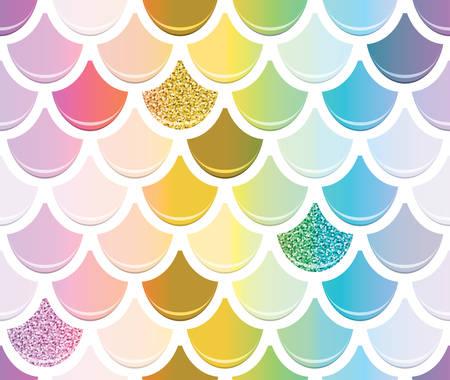 Nahtloses Muster des Meerjungfrauenschwanzes mit goldenen Glitzerelementen. Trendiger Skalenhintergrund. Mehrfarbig. Vektor