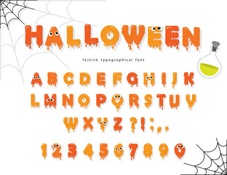 Halloween font for kids. Pumking orange letters and numbers. Vector