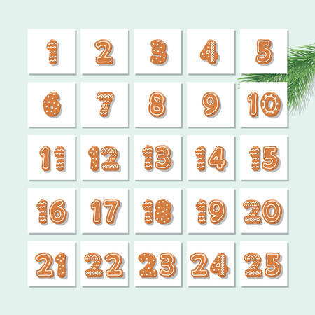 Christmas advent calendar, decorated wirh gingerbread cookies. Vector