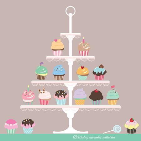 Cupcakes de dessin animé mignon sur le stand. Conception d'anniversaire. Vecteurs