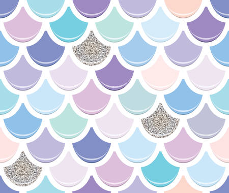 Mermaid tail seamless pattern with silver glitter elements. Colorful fish skin background. Trendy pastel pink and purple colors. Vector