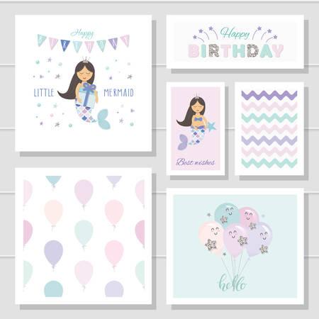 Lindas tarjetas de cumpleaños para niñas. Personajes de dibujos animados de la Sirenita. Con elementos de purpurina. Vector Ilustración de vector