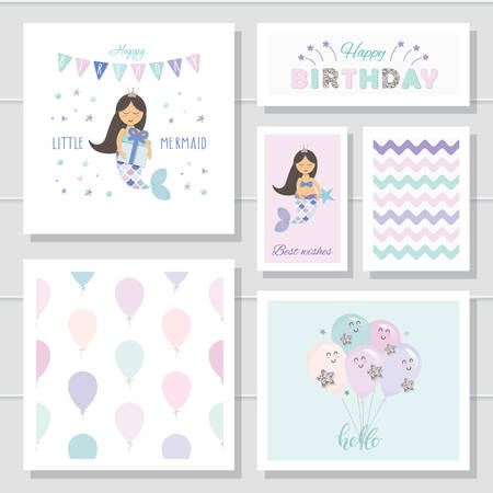 Cute birthday cards set for girls. Little Mermaid cartoon characters. With glitter elements. Vector